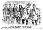 "How to Utilise our Skilled Craftsman. First Lieutenant. ""What was this man before he joined?"" Petty officer, ""Optician, sir."" First Lieutenant. ""What had we better give him to do?"" Petty officer. ""There's them prismatic spotting glasses, sir. The leather strap is broken off them. He could splice in a piece o' cod line."""