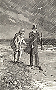Sergeant Cuff, right, and Gabriel Betteridge following Roseanna Speareman's footsteps to the Shivering Sands. Illustration by Arthur Fraser (active 1865-1898) for 'The Moonstone' by Wilkie Collins (London, 1890). First published in 1868 and said by TS Eliot to be the 'the first and greatest of English detective novels'.