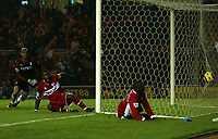 Photo: Andrew Unwin.<br /> Middlesbrough v Fulham. The Barclays Premiership.<br /> 20/11/2005.<br /> Middlesbrough's Jimmy Floyd Hasselbaink (R) fires home his team's second goal.