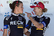 Ariane Kleinhans (left) and Annika Langvad share a joke on the podium after stage 5 of the 2014 Absa Cape Epic Mountain Bike stage race held from The Oak Estate in Greyton to Oak Valley Wine Estate in Elgin, South Africa on the 28 March 2014<br /> <br /> Photo by Greg Beadle/Cape Epic/SPORTZPICS