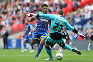 Lyle Taylor of AFC Wimbledon charges for the ball as Goalkeeper Luke McCormick of Plymouth Argyle clears.  Skybet football league two play off final match, AFC Wimbledon v Plymouth Argyle at Wembley Stadium in London on Monday 30th May 2016.<br /> pic by John Patrick Fletcher, Andrew Orchard sports photography.