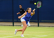 Laura Robson (GBR) in action during her match with doubles partner Jocelyn Rae (GBR) against Su-Wei Hsieh and Magda Linette. The Aegon Open Nottingham 2017, international tennis tournament at the Nottingham tennis centre in Nottingham, Notts , day 2 on Tuesday 13th June 2017.<br /> pic by Bradley Collyer, Andrew Orchard sports photography.
