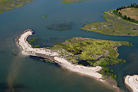 Aerial of Griswold Point, Old Lyme, CT near the mouth of the Connecticut River.