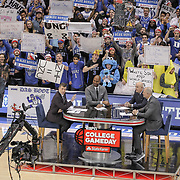 ESPN's Rece Davis, LaPhonso Ellis, Seth Greenberg and Jay Bilas are seen during a live, College Gameday broadcast at Duke's Cameron Indoor Stadium in Durham. ©Travis Bell Photography
