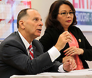 U.S. Congressman Bill Enyart speaks during a joint press conference with Congresswoman Tammy Duckworth at his campaign office in downtown Belleville on Thursday morning. The press conference had originally been scheduled to be held at the Scott AFB Heritage Air Park, but inclement weather forced them to move to an inside location. The two spoke primarily about veterans affairs.