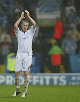 Photo: Aidan Ellis.<br /> Bolton Wanderers v Zenit St Petersburg. UEFA Cup. <br /> 03/11/2005.<br /> Bolton goal scorer Kevin Nolan applauds the fans as he is substituted.