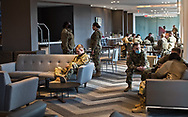 Soldiers in  the Cambria hotel lobby in Washington DC, Over 25,000 troops were deployed to secure Biden's inuguration after the insurgency on Jan. 6, 2021.