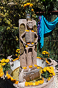 A central courtyard shrine and offerings inside the Temple of Nuestra Señora de la Santa Muerte or Church of the Saint of the Dead November 1, 2017 in Santa Ana Chapitiro, Michoacan, Mexico.