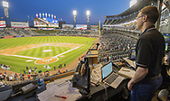 CHICAGO - SEPTEMBER 24:  Chicago White Sox television play by play announcer Jason Benetti looks on prior to the game against the Cleveland Indians on September 24, 2019 at Guaranteed Rate Field in Chicago, Illinois.  (Photo by Ron Vesely)  Subject:   Jason Benetti