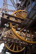 Lift winch machinery and cables at the second level of the Eiffel Tower, Paris.
