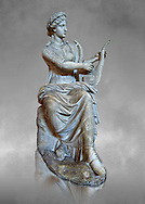 Roman stuate from the time of Hadrian of the muse Tersichore, inv 308, Vatican Museum Rome, Italy,  grey art background ..<br /> <br /> If you prefer to buy from our ALAMY STOCK LIBRARY page at https://www.alamy.com/portfolio/paul-williams-funkystock/greco-roman-sculptures.html . Type -    Vatican    - into LOWER SEARCH WITHIN GALLERY box - Refine search by adding a subject, place, background colour, museum etc.<br /> <br /> Visit our CLASSICAL WORLD HISTORIC SITES PHOTO COLLECTIONS for more photos to download or buy as wall art prints https://funkystock.photoshelter.com/gallery-collection/The-Romans-Art-Artefacts-Antiquities-Historic-Sites-Pictures-Images/C0000r2uLJJo9_s0c