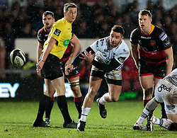 Ospreys' Rhys Webb gets the ball away<br /> <br /> Photographer Simon King/Replay Images<br /> <br /> Guinness Pro14 Round 12 - Dragons v Cardiff Blues - Sunday 31st December 2017 - Rodney Parade - Newport<br /> <br /> World Copyright © 2017 Replay Images. All rights reserved. info@replayimages.co.uk - http://replayimages.co.uk