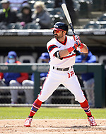 CHICAGO - APRIL 25:  Adam Eaton #12 of the Chicago White Sox bats against the Texas Rangers on April 25, 2021 at Guaranteed Rate Field in Chicago, Illinois.  (Photo by Ron Vesely) Subject:  Adam Eaton
