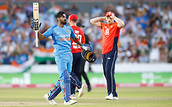 India's Lokesh Rahul celebrates making his century against England, during the 1st Vitality IT20 Series match at Emirates Old Trafford, Manchester.