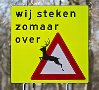 VOGELENZANG  - Waarschuwingsbord voor plotseling overstekende herten. COPYRIGHT KOEN SUYK