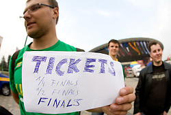 Lithuanian fan selling tickets before the EuroBasket 2009 Quaterfinals match between Russia and Serbia, on September 17, 2009 in Arena Spodek, Katowice, Poland.  (Photo by Vid Ponikvar / Sportida)