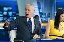 Jim White and Natalie Sawyer at the Sky Sports TV studio for the transfer Deadline Day show..© Michael Schofield.....