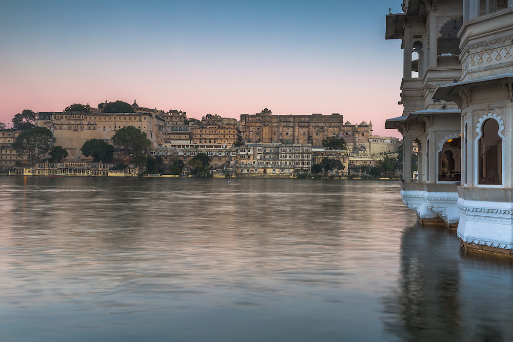 A long exposure image of Lake Pichola in early morning light produced a dreamy and serene scene.