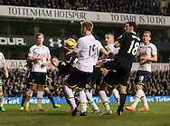 The ball appears to strike Tottenham's Eric Dier's arm but no penalty is given<br /> <br /> Barclays Premier League- Tottenham Hotspur vs Everton - White Hart Lane - England - 30th November 2014 - Picture David Klein/Sportimage