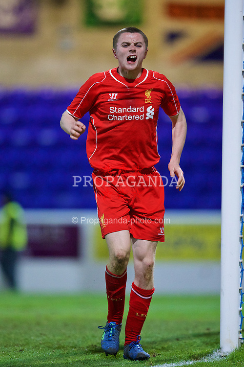 CHESTER, ENGLAND - Friday, January 30, 2015: Liverpool's Jordan Rossiter limps off injured against Birmingham City during the FA Youth Cup 5th Round match at the Deva Stadium. (Pic by David Rawcliffe/Propaganda)