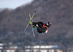 Switzerland's Andri Ragettli in action during the qualification runs of the Men's Ski Slopestyle at the Bogwang Snow Park during day nine of the PyeongChang 2018 Winter Olympic Games in South Korea. PRESS ASSOCIATION Photo. Picture date: Sunday February 18, 2018. See PA story OLYMPICS Slopestyle. Photo credit should read: Mike Egerton/PA Wire. RESTRICTIONS: Editorial use only. No commercial use.