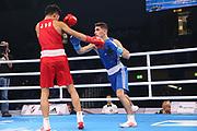 Boxen: AIBA Box-WM, Day 3, Hamburg, 20.08.2017<br /> Bantam, 56 Kg: Ryomei Tanaka (JPN,  (KEN, Red) - Omar El-Hag (GER, Blue)<br /> © Torsten Helmke
