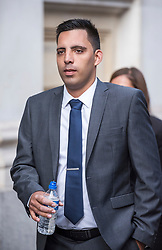 © Licensed to London News Pictures. 13/08/2018. Bristol, UK. RYAN ALI arrives at Bristol Crown court today at the start of the second week of his trial on charges of affray that relate to a fight outside a Bristol nightclub on September 25 2017. England cricketer Ben Stokes and Ryan Ali, 28 deny the charge. Stokes and Ali are charged with affray in the Clifton Triangle area of Bristol on September 25 last year, several hours after England had played a one-day international against the West Indies in the city. Ali allegedly suffered a fractured eye socket in the incident. Photo credit: Simon Chapman/LNP