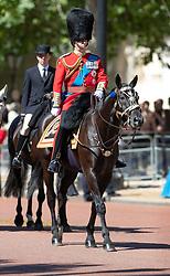© Licensed to London News Pictures. 01/06/2019. London, UK.  Prince Andrew, Duke of York takes part in Trooping the Colour Colonel's Review in The Mall and at Horse Guards Parade. Reviewed by His Royal Highness The Duke of York, this rehearsal takes place a week before Queen Elizabeth II attends the same ceremony on June 8th to mark her official birthday. Over 240 soldiers from the 1st Battalion Welsh Guards will line the route down The Mall. Also taking part will be up to 1450 soldiers of the Household Division and The King's Troop Royal Horse Artillery, along with up to 400 musicians from the Massed Bands, all of whom will parade on Horse Guards for the second of two formal Reviews. Photo credit: Peter Macdiarmid/LNP