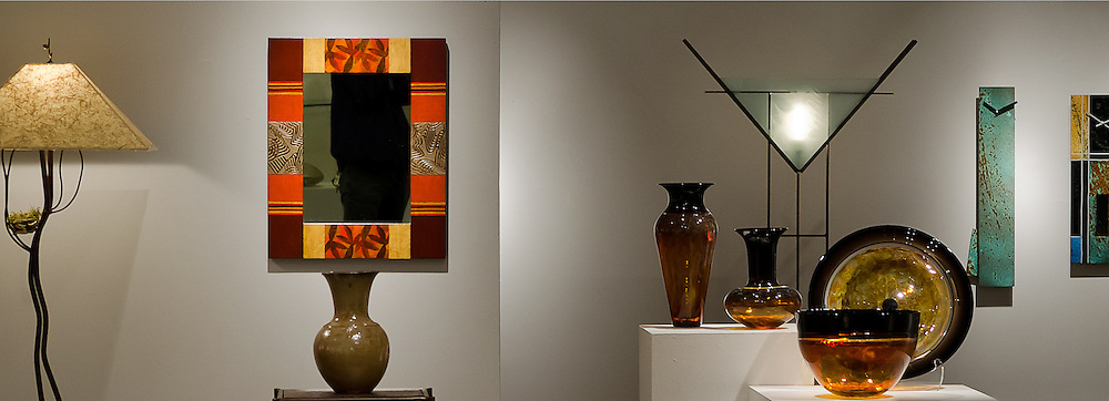Varied pieces of fine art are displayed in the Paper Weight Museum.