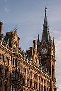 Exterior of St Pancras International Train Station's clock tower on the 9th October 2019 in London in the United Kingdom.