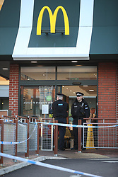 © Licensed to London News Pictures. 23/10/2019. Manchester, UK. Police have taped off an area around a branch of McDonald's in Harpurhey and report several people have been injured, following a stabbing incident . Photo credit: Joel Goodman/LNP