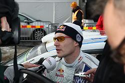 08.02.2014, Hagfors, Karlstad, SWE, FIA, WRC, Schweden Rallye, Tag 4, im Bild Jari-Matti Latvala (Volkswagen Motorsport/Polo R WRC), Einzelbild, beim Interview // during Day 4 of the FIA WRC Sweden Rally at the Hagfors in Karlstad, Sweden on 2014/02/08. EXPA Pictures © 2014, PhotoCredit: EXPA/ Eibner-Pressefoto/ Bermel<br /> <br /> *****ATTENTION - OUT of GER*****