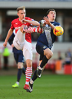 Barnsley's Marc Roberts under pressure from Preston North End's Jordan Hugill<br /> <br /> Photographer Chris Vaughan/CameraSport<br /> <br /> The EFL Sky Bet Championship - Barnsley v Preston North End - Saturday 4th February 2017 - Oakwell Stadium - Barnsley<br /> <br /> World Copyright © 2017 CameraSport. All rights reserved. 43 Linden Ave. Countesthorpe. Leicester. England. LE8 5PG - Tel: +44 (0) 116 277 4147 - admin@camerasport.com - www.camerasport.com