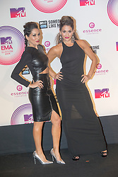 Nicole Garcia-Colace and Briaana Danielson, aka The Bella Twins, backstage at the winners room at the MTV EMA's 2014, Glasgow, Scotland