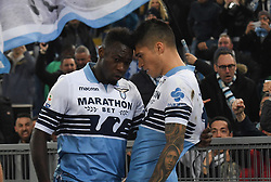 March 2, 2019 - Rome, Lazio, Italy - Felipe Caicedo and Joaquin Correa of SS Lazio react during the Italian Serie A football match between S.S. Lazio and A.S Roma at the Olympic Stadium in Rome, on march 02, 2019. (Credit Image: © Silvia Lore/NurPhoto via ZUMA Press)