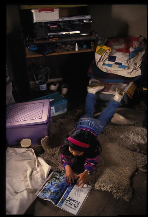 Kristie Tsosie (4 - grandchild) atthe Mary and Henry Lane Bodaway sheep camp.