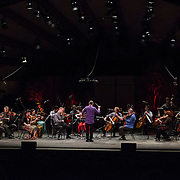 """Joshua Gersen conducts the MMDG Music Ensemble and the American String Quartet in John Luther Adams' """"for Lou Harrison"""" at Libbey Bowl on June 8, 2013 in Ojai, California."""