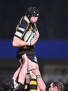 Wycombe, GREAT BRITAIN,   Wasps', George Skivington, win's the line out ball, during the London Wasps vs Harlequins, rugby match at Adam's Park Stadium, Bucks on Sun 04.01.2009. [Photo, Peter Spurrier/Intersport-images]