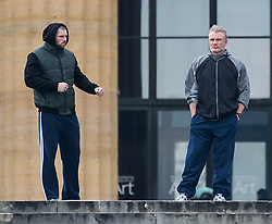 Dolph Lundgren and Florian Munteanu film Creed II on top of the Rocky steps at the Philadelphia Museum of Art in Philadelphia. 15 Mar 2018 Pictured: Dolph Lundgren and Florian Munteanu. Photo credit: MEGA TheMegaAgency.com +1 888 505 6342