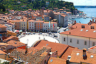 Tartini Square with roof tops of Piran , Slovenia Visit our PHOTO COLLECTIONS OF SLOVANIAN  HISTOIC PLACES for more photos to download or buy as wall art prints https://funkystock.photoshelter.com/gallery-collection/Pictures-Images-of-Slovenia-Photos-of-Slovenian-Historic-Landmark-Sites/C0000_BlKhcYWnT4Sites/C0000qxA2zGFjd_k