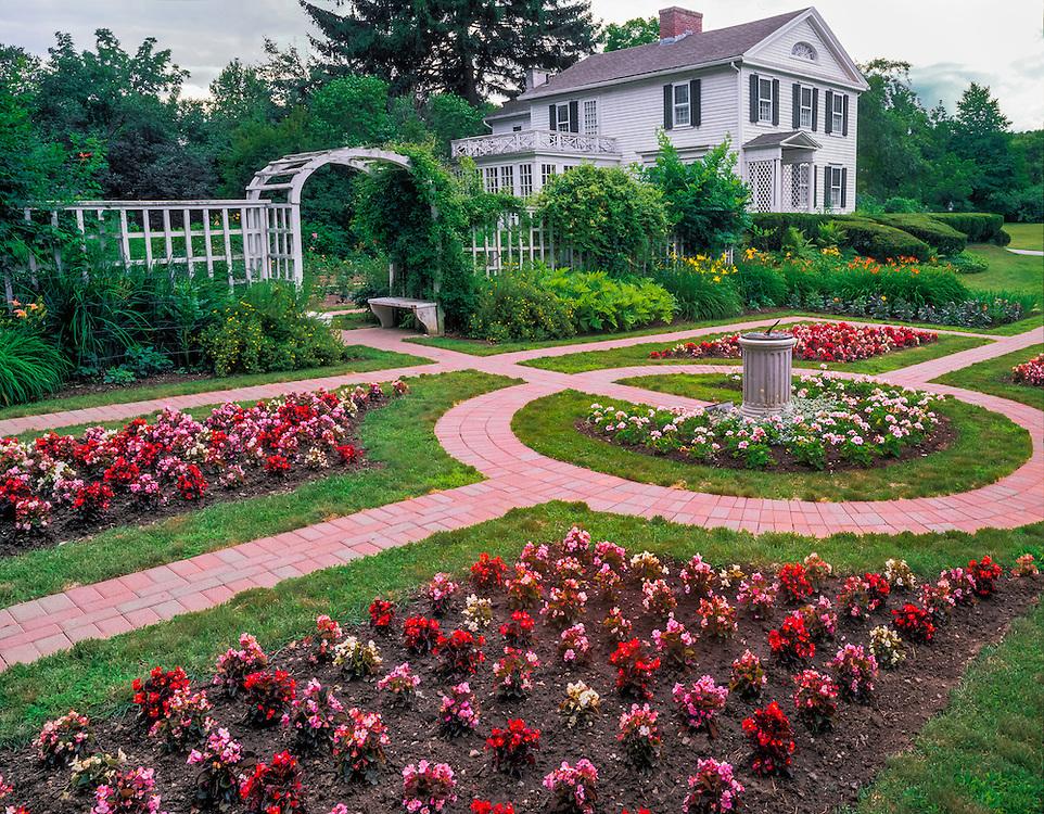 Gardens and historic Osborne Kellogg museum in summer, Derby, CT