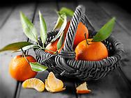Fresh mandarins fruits with leaves.
