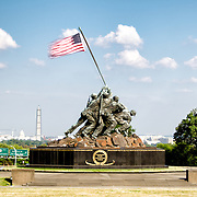 The Iwo Jima Memorial (US Marine Corps Memorial) in Arlington, Virginia. The large bronze statue is based on a photograph by AP photographer Joe Rosenthal of the US claiming the island of Iwo Jima in the Pacific Theater of World War II.