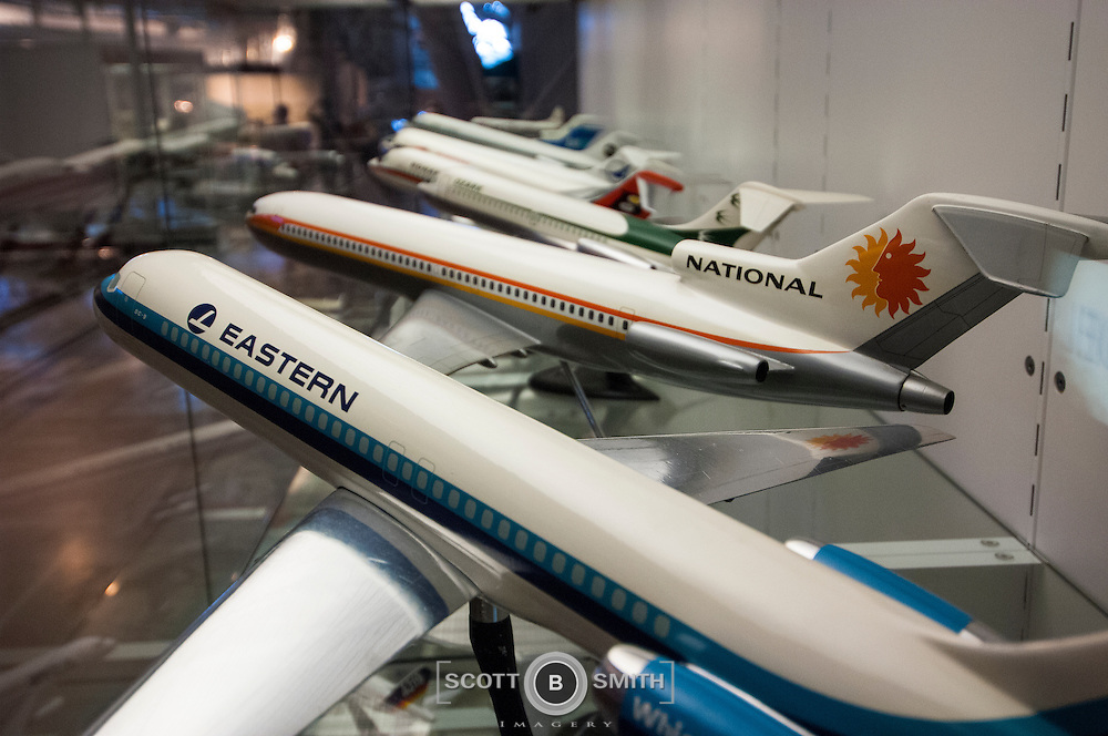 Airline model aircraft on display at the hanger style facility adjacent to Dulles Airport, Virginia.