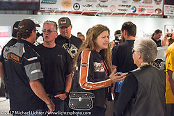 Ray Drea, Cris Simmons and Nancy Davidson at the Old Iron - Young Blood exhibition media and industry reception in the Motorcycles as Art gallery at the Buffalo Chip during the annual Sturgis Black Hills Motorcycle Rally. Sturgis, SD. USA. Sunday August 6, 2017. Photography ©2017 Michael Lichter.