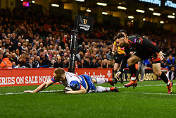 27th April 2019 , Principality Stadium , Cardiff, Wales ; Guinness pro 14's, Round 21, Dragons vs Scarlets ; Johnny McNicholl of Scarlets scores a try<br /> <br /> Credit :  Craig Thomas/Replay Images