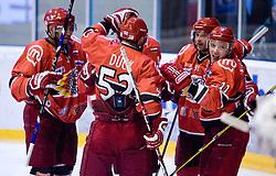 Players of Jesenice (Andrei Makrov R) celebrate at 14th Round of EBEL league  ice hockey match between HK Acroni Jesenice and HDD Tilia Olimpija Ljubljana, on October 16, 2009, in Arena Podmezakla, Jesenice. Acroni Jesenice won 7:5. (Photo by Vid Ponikvar / Sportida)