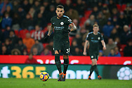 Nicolas Otamendi of Manchester City in action. Premier league match, Stoke City v Manchester City at the Bet365 Stadium in Stoke on Trent, Staffs on Monday12th March 2018.<br /> pic by Andrew Orchard, Andrew Orchard sports photography.