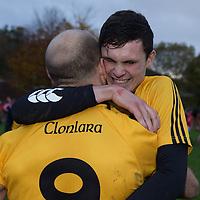 Clonlara players celebrate at the final whistle