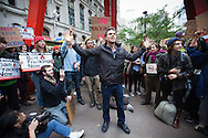 Mark Ruffalo speaks out  against fracking to demonstrators in the Occupy Wall Street movement before a planned march to a public hearing on the proposed Spectra pipeline  at P.S. 41, Greenwich Village School Auditorium. The demonstrators, calling themselves the 99% have been protesting against corporate greed and economic injustice in a movement that has  spread globally.p5gg g